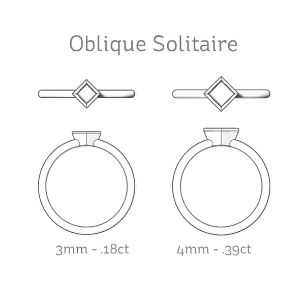 Oblique Princess Bezel Solitaire Diamond Carat Size Comparison
