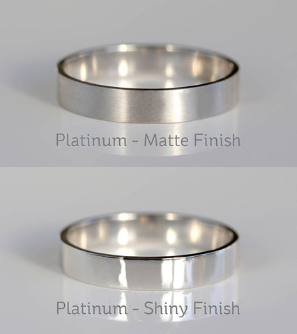 Platinum Satin Matte VS Shiny Polished Finish Small
