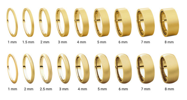 Wedding Band Ring Width Comparison Photo