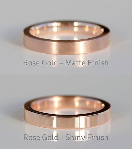 Rose Gold Satin Matte VS Shiny Polished Finish Small