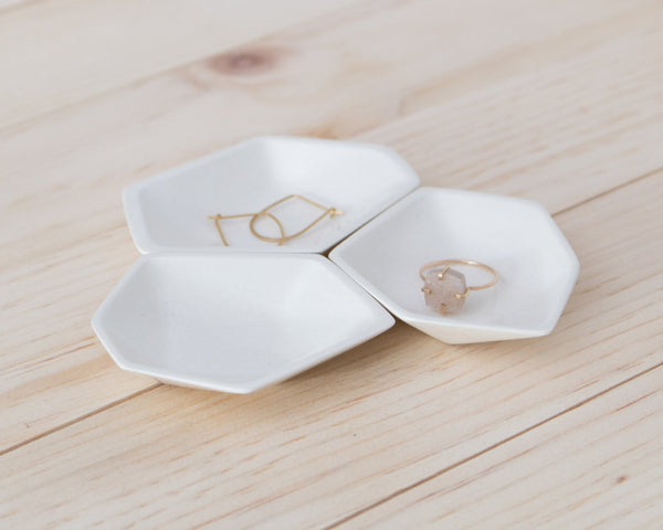 Small Geometric Ring Dish set of 3 in White