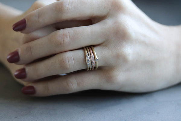 Stacking rings, yellow and rose gold stacking rings, diamonds - Aide-memoire Jewelry