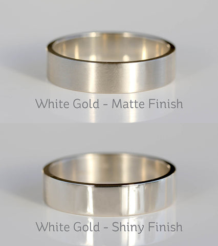 White Gold Satin Matte VS Shiny Polished Finish Small