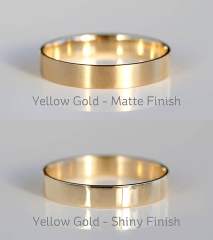 Yellow Gold Satin Matte VS Shiny Polished Finish Small