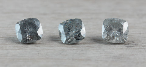 grey moissanite cushions, 5mm