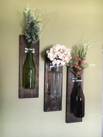 Wine Bottle Wall Vase SETS of 2, 3, 4 – Perfect for Valentine's Day, Home Decor - by ShopMerakiDesigns
