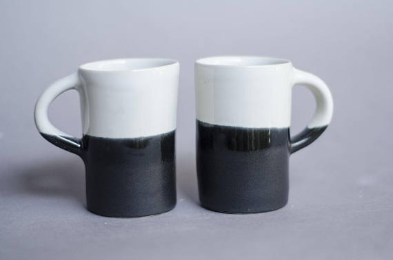Ceramic mug set, Black and White Mug, Valentines Day Mug, Espresso, Foodie Gift, Espresso Set, Husband Gift, Matching mug set - by roselinepottery