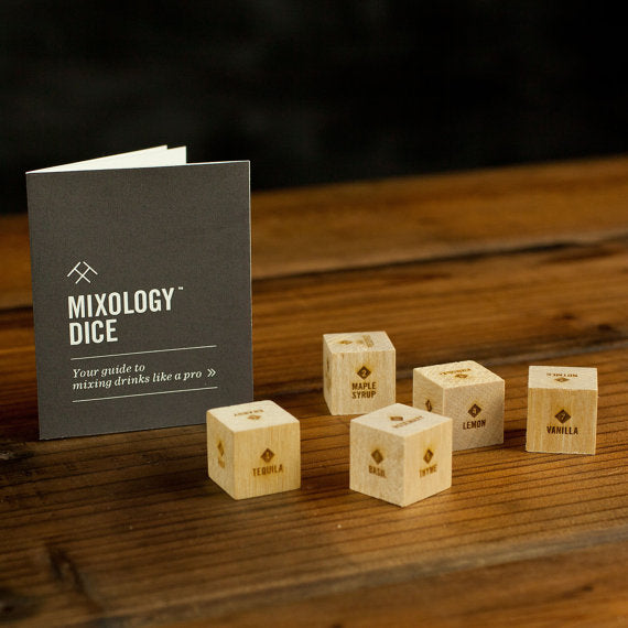 Mixology Dice Tumbler / Laser engraved wood dice to inspire craft cocktails / Bartender gift, gift for boyfriend, men, him, Valentine's Day - by TwoTmbleweeds