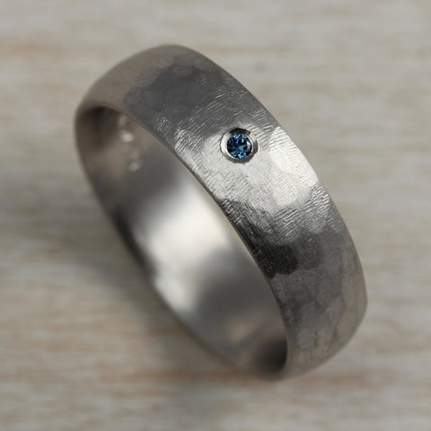 6mm Stone Texture Hand-carved Classic Band, 950 Palladium, Flush Set Australian Sapphire