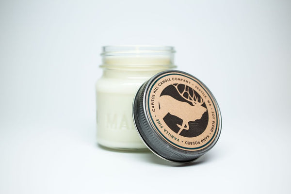 Capitol Hill Candle Company's Vanilla Pine soy blend candle, hand-poured and -made in Seattle, WA