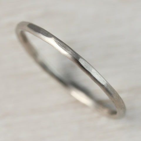 Hammer Textured Round Stacking Ring