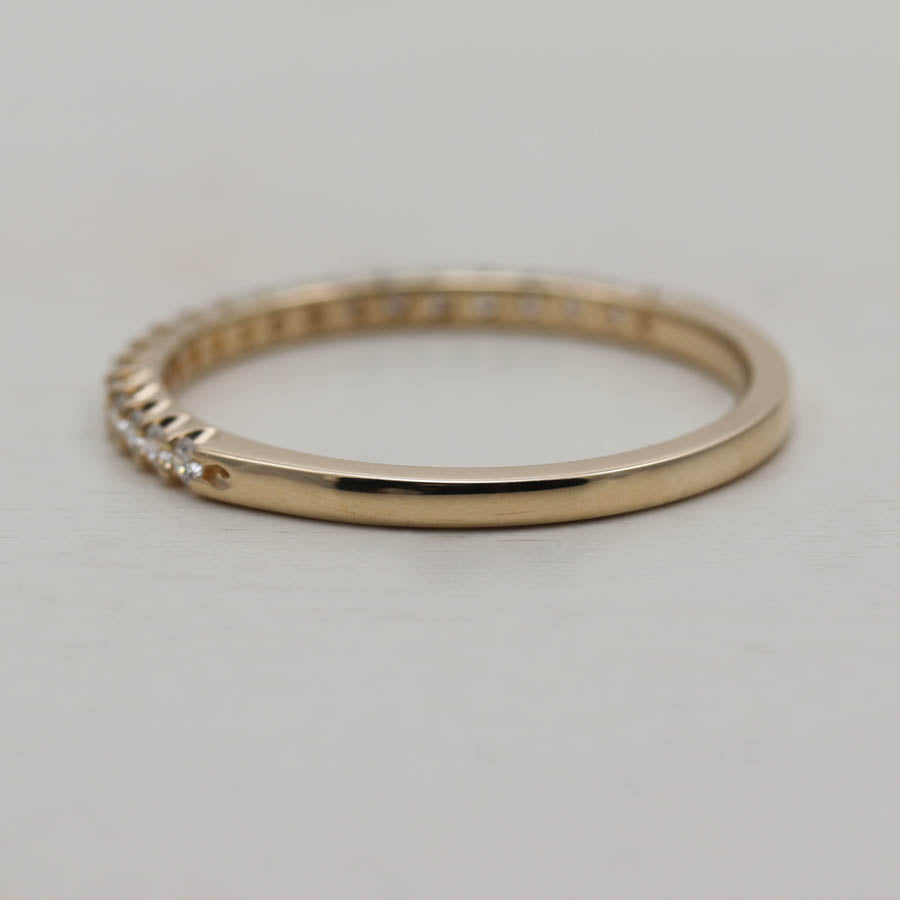 In-stock 1.5mm Diamond Half Eternity Band with Flat Sides, In-Stock Women's - Aide-mémoire Jewelry