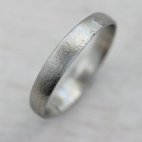 3mm Wide Ancient Rustic Textured Band >7.25