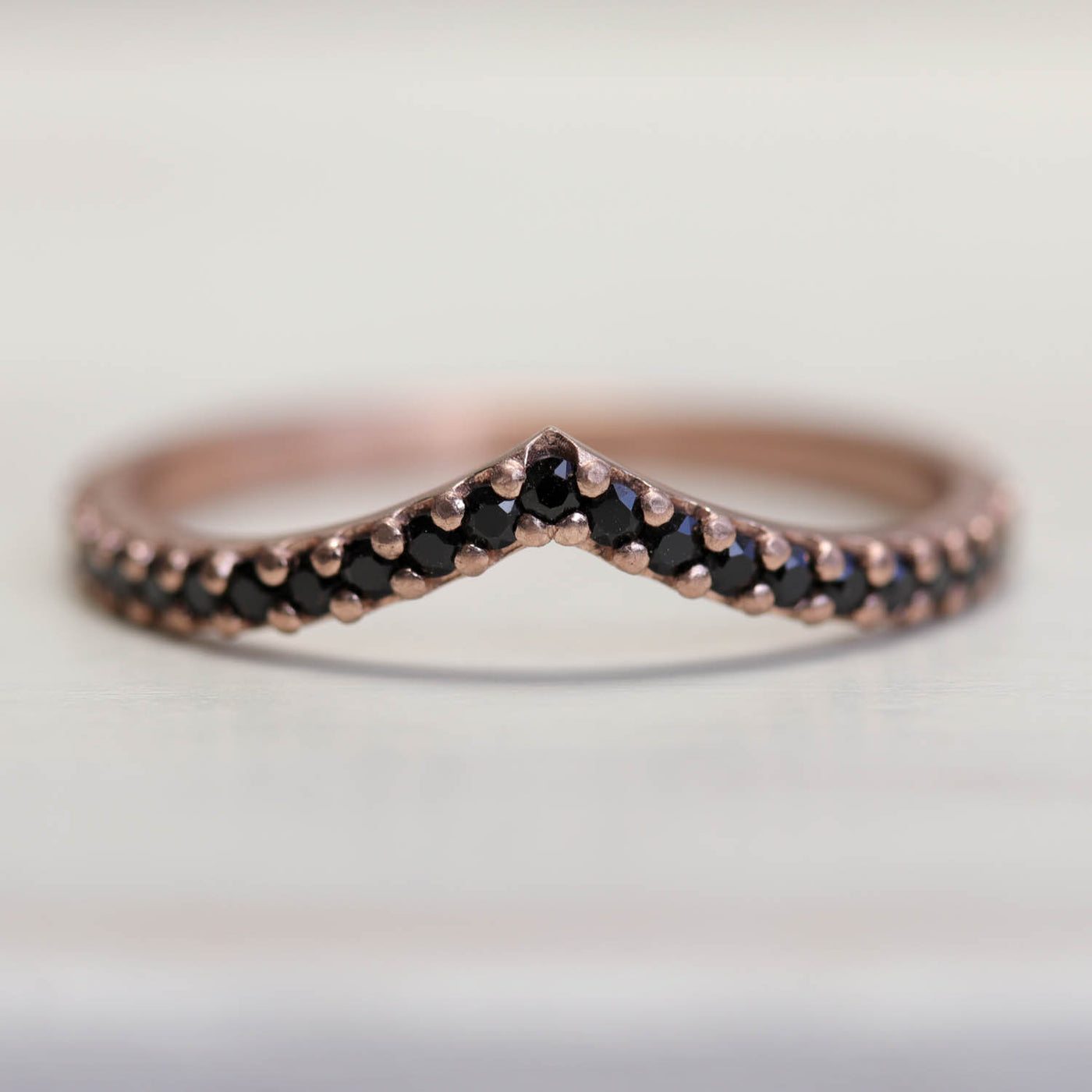 Pavé Low Dome V Contour Band with Black Spinel