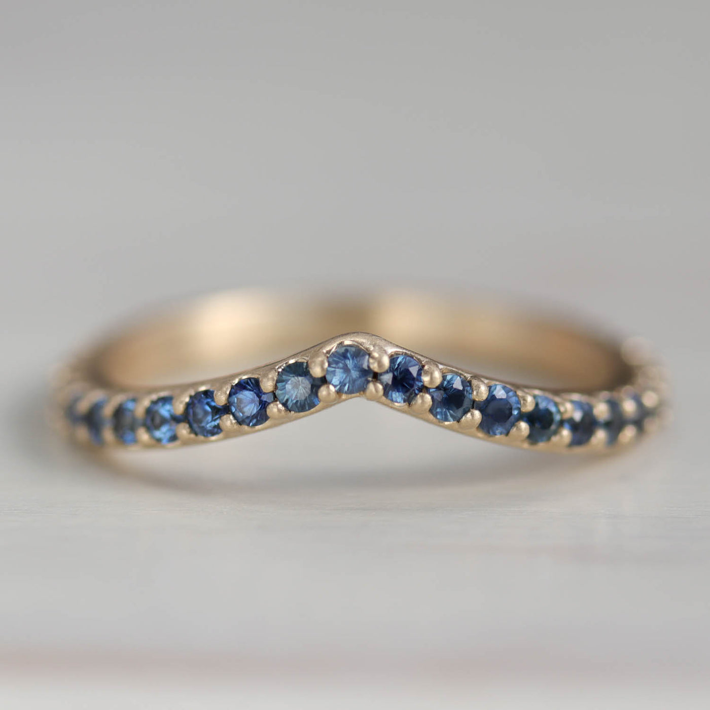 Pavé Low Dome V Contour Band with Australian Denim Blue Sapphires