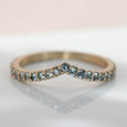 Low Dome Pave V Contour Band with Light Teal Sapphires