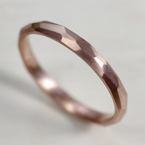 Narrow Smooth Faceted Wedding Band