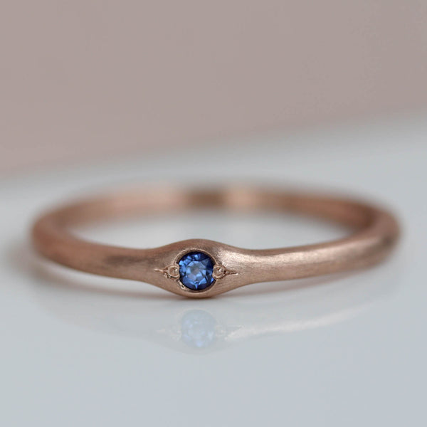 2mm Bump Ring with Light Blue Chatham Sapphire