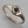Ancient Signet Engagement Ring with Green Australian Sapphire