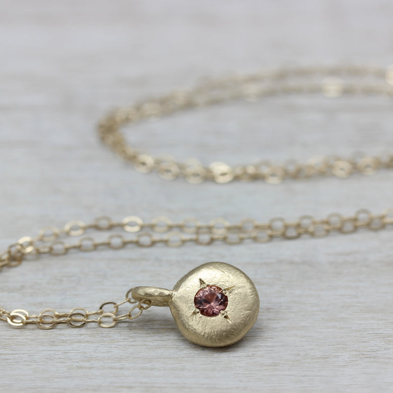Pendant Necklace with 3mm Peach Sapphire