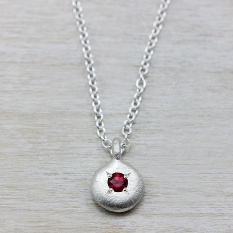 Pendant Necklace with 3mm Chatham Ruby, Engagement Ring - Aide-mémoire Jewelry