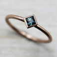 Rose Gold Solitaire Engagement Ring with Australian Sapphire, Engagement Ring - Aide-mémoire Jewelry