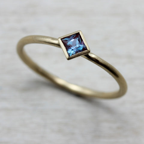 Princess Cut Solitaire with Chatham Alexandrite, Engagement Ring - Aide-mémoire Jewelry