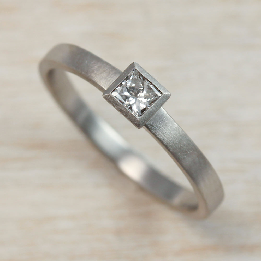 3mm Square Solitaire Engagement Ring