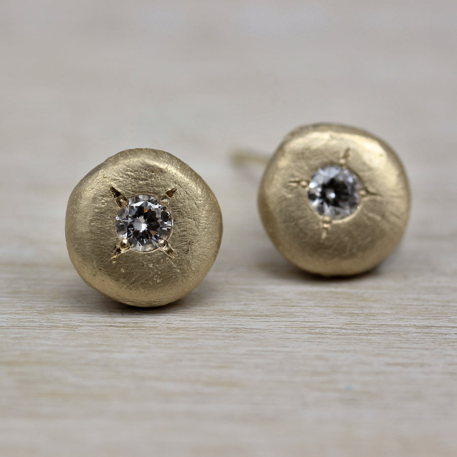 3mm Ancient Diamond Post Earrings, Earrings - Aide-mémoire Jewelry