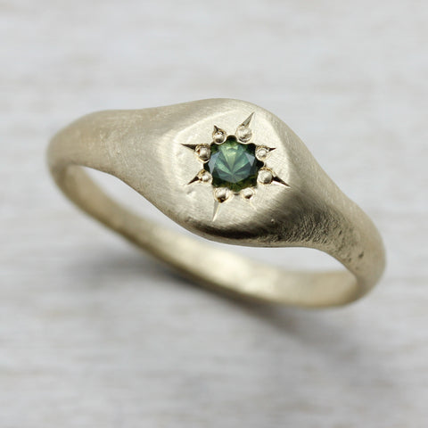 Yellow Gold Signet Ring with Green Australian Sapphire