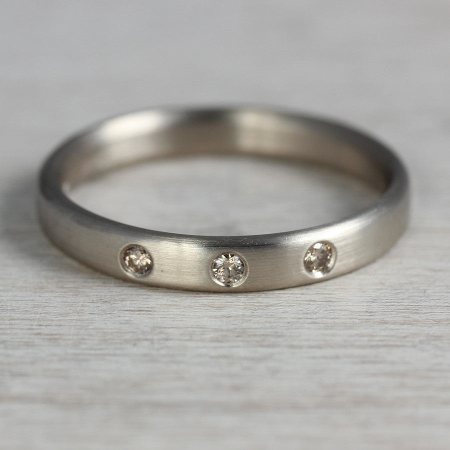 Edgeless Band with Three Flush Set Champagne Diamonds, Engagement Ring - Aide-mémoire Jewelry