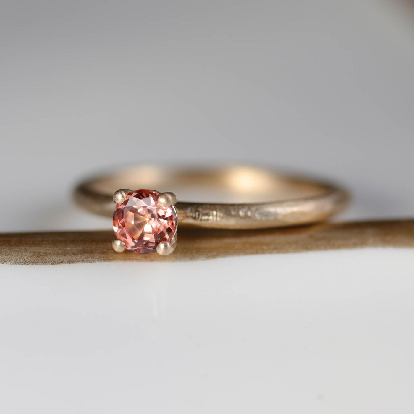 4mm Basket Solitaire with 4mm Chatham Peach Padparadscha Sapphire