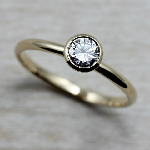 Moissanite & Yellow Gold Solitaire, Engagement Ring - Aide-mémoire Jewelry