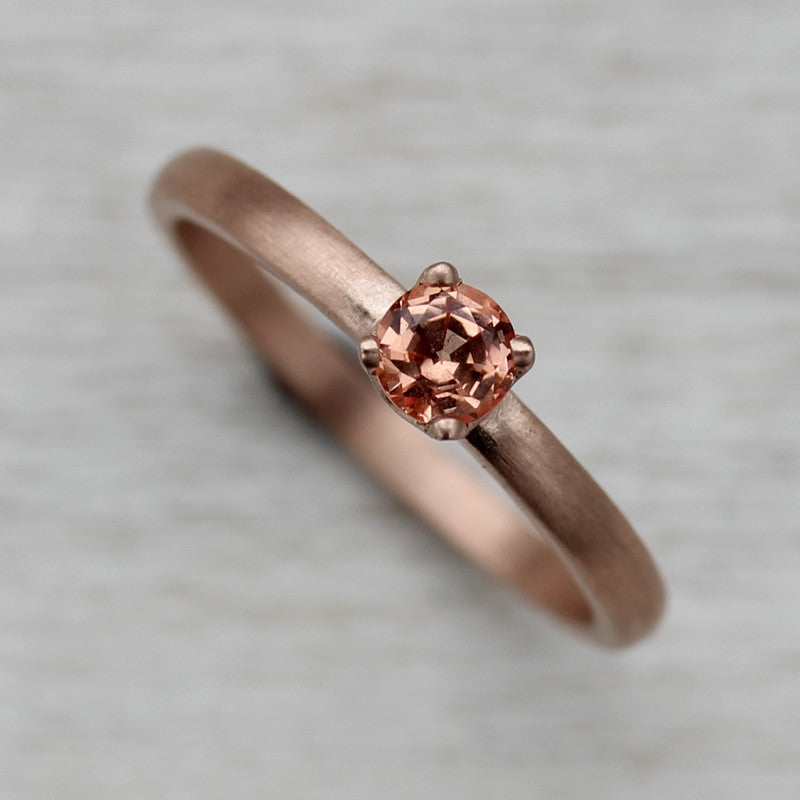 Peach and Rose Gold 4mm Crown Solitaire, Engagement Ring - Aide-mémoire Jewelry
