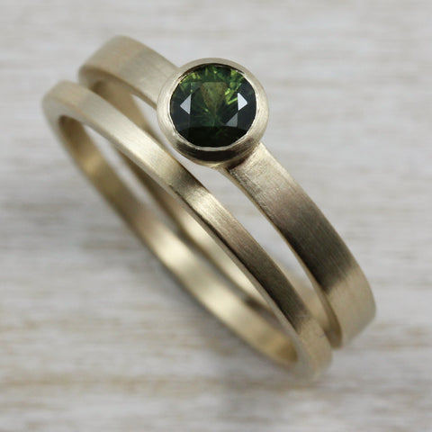 Olive Green Sapphire Solitaire in 14k Yellow Gold