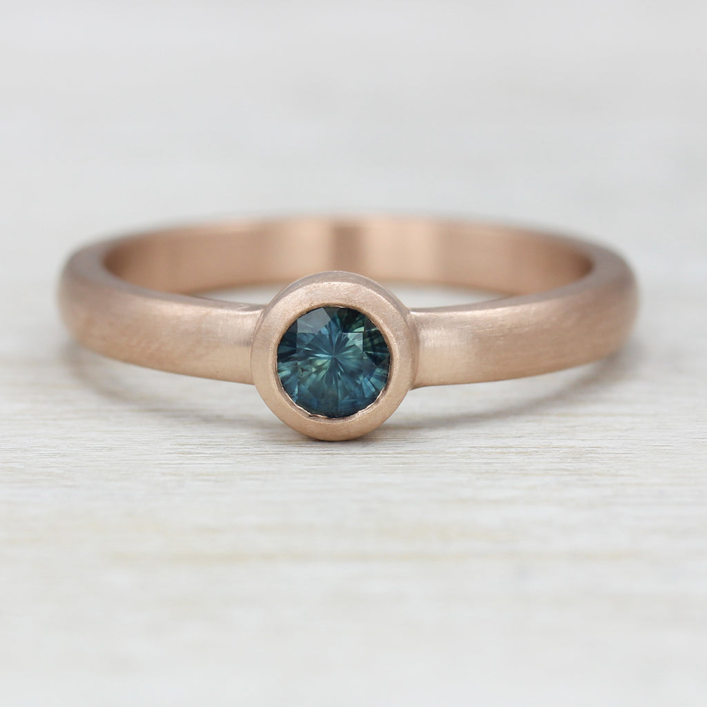 Rose Gold Solitaire with Fair Trade Teal Blue Sapphire, Engagement Ring - Aide-mémoire Jewelry