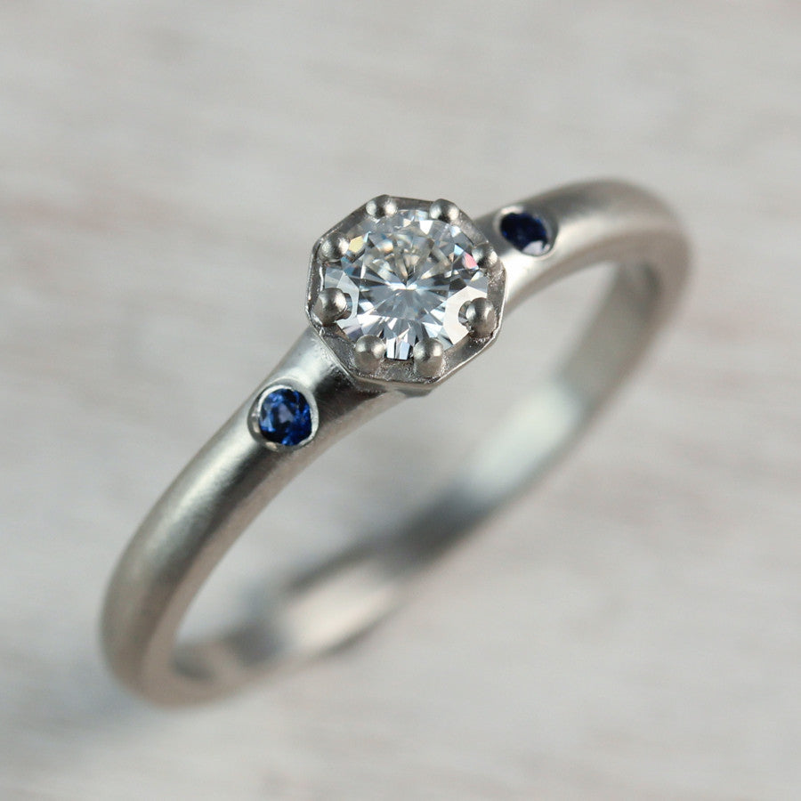 Octagon Engagement Ring with Chatham Blue Sapphire Side Stones, Engagement Ring - Aide-mémoire Jewelry