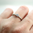 In-Stock 4mm Octagon Engagement Ring with side stones