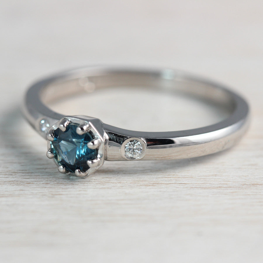 Solitaire with Denim Blue Sapphire, Engagement Ring - Aide-mémoire Jewelry