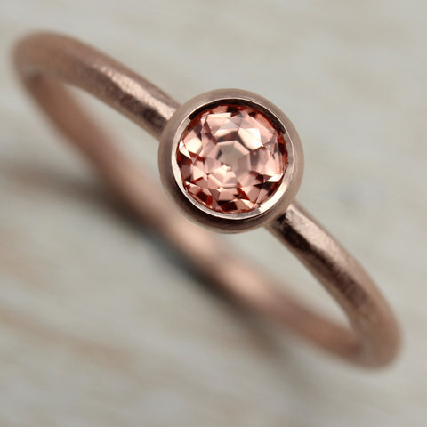 Rustic Solitaire with Light Peach Sapphire