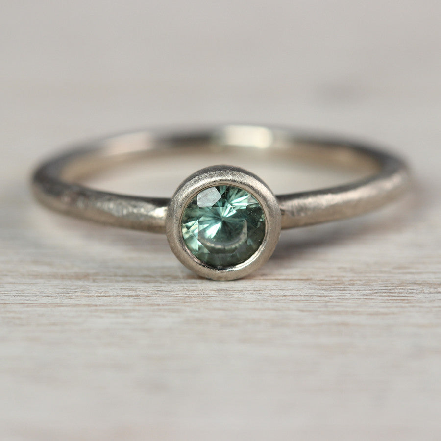 Pale Green Australian Sapphire and 14k White Gold Rustic Engagement Ring, Engagement Ring - Aide-mémoire Jewelry