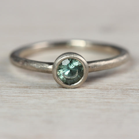 Pale Green Australian Sapphire and 14k White Gold Rustic Engagement Ring
