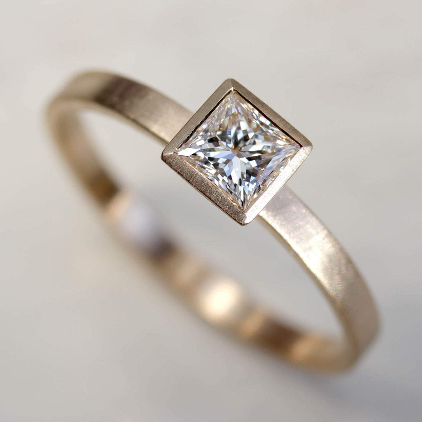 4mm Square Solitaire Engagement Ring •