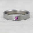 Pink Sapphire & Palladium Flat Band, Engagement Ring - Aide-mémoire Jewelry