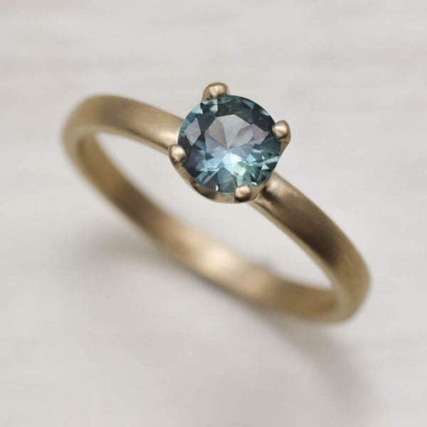 Blue Green Montana Sapphire Solitaire, Engagement Ring - Aide-mémoire Jewelry