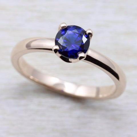 Rose Gold Crown Solitaire with Dark Blue Chatham Sapphire, Engagement Ring - Aide-mémoire Jewelry