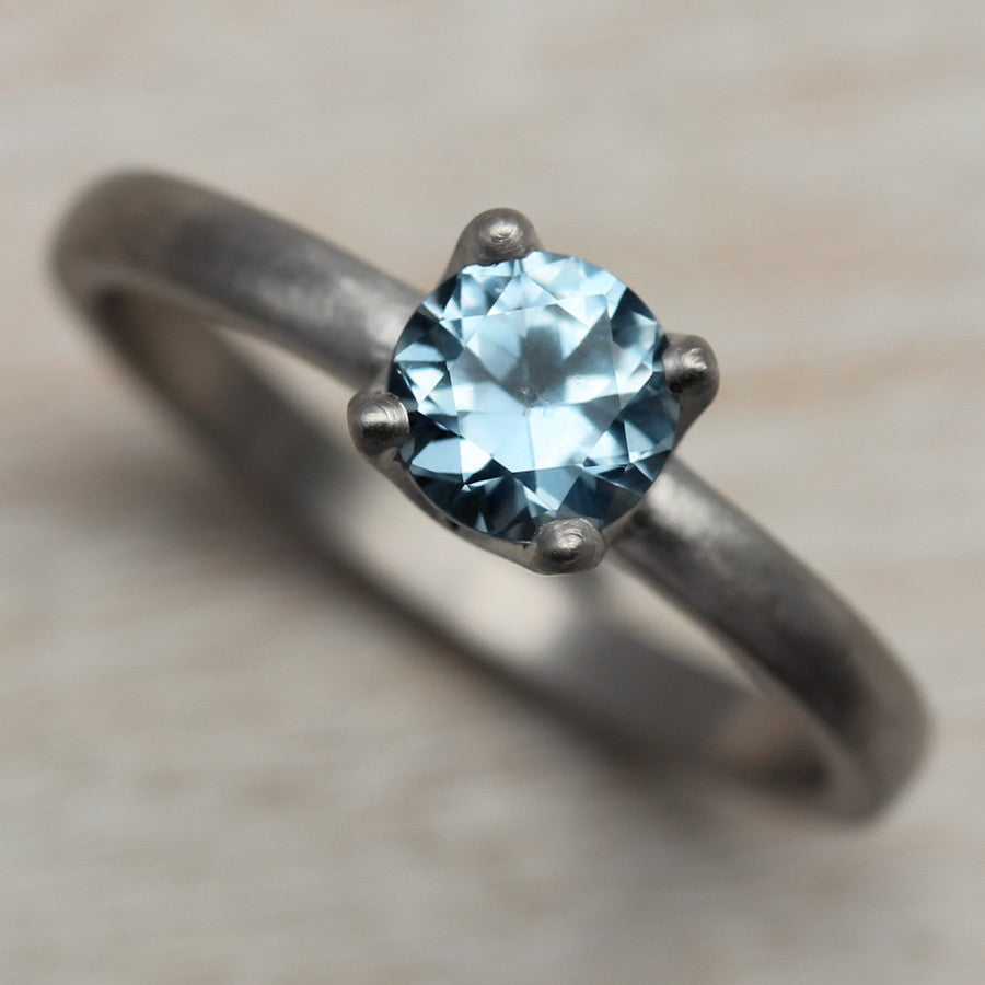 Light Denim Blue Sapphire and Palladium Crown Solitaire, Engagement Ring - Aide-mémoire Jewelry