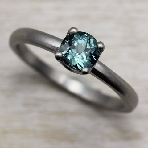 Aqua Blue Sapphire and Palladium Crown Solitaire