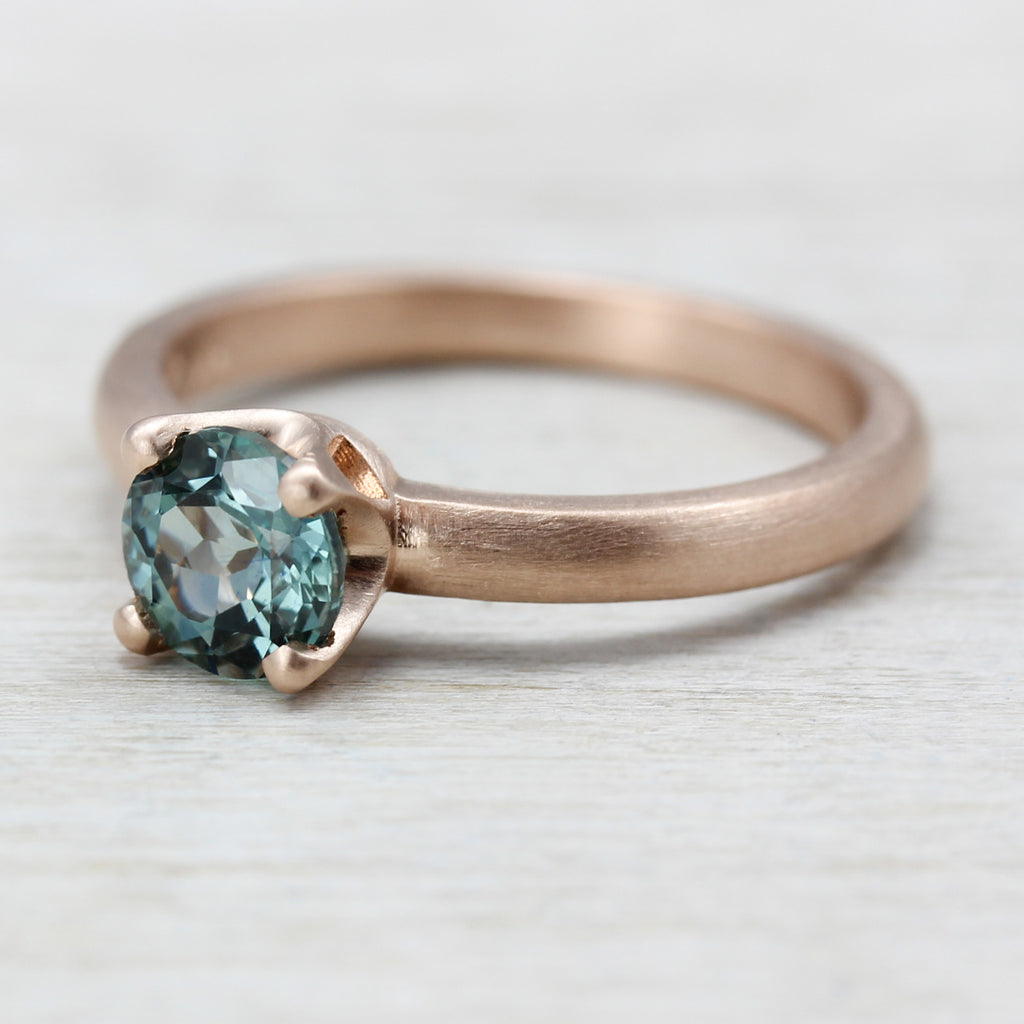 Rose Gold Crown Solitaire with Aqua Blue Malawi Sapphire, Engagement Ring - Aide-mémoire Jewelry