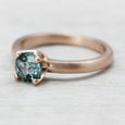 Rose Gold Crown Solitaire with Fair Trade Aqua Blue Sapphire, Engagement Ring - Aide-mémoire Jewelry